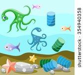 deep sea life. attitude of... | Shutterstock .eps vector #354940358
