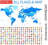 all round flags and world map... | Shutterstock .eps vector #354948260