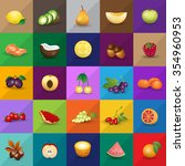 fruits icons set   isolated on... | Shutterstock .eps vector #354960953