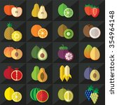 set of fruits flat style icons... | Shutterstock .eps vector #354964148