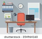 interior office workplace flat... | Shutterstock .eps vector #354964160