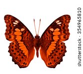 Small photo of Common Commander (Moduza procris milonia) in fancy color profile isolated on white background, beautiful orange butterfly