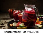 Sangria In Pitcher With Slices...