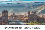 Stock photo morning sun rising at plaza de armas with adean moutain and group of cloud cusco peru 354971309