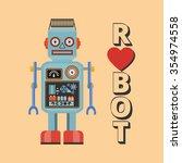 retro robot. vintage robot.... | Shutterstock .eps vector #354974558