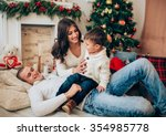 beautiful family waiting for... | Shutterstock . vector #354985778