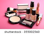 cosmetics on pink background | Shutterstock . vector #355002560