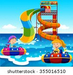boy and girl riding on water... | Shutterstock .eps vector #355016510