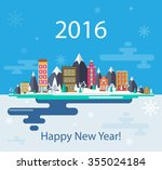winter landscape. small town.... | Shutterstock .eps vector #355024184