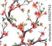 watercolor floral pattern... | Shutterstock . vector #355027913