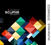 glossy color squares on black.... | Shutterstock .eps vector #355068023