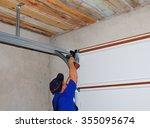 contractor installing garage... | Shutterstock . vector #355095674