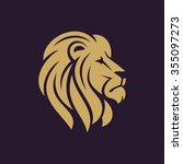 lion head logo or icon in one... | Shutterstock .eps vector #355097273