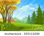 spectacular rays of light... | Shutterstock .eps vector #355113200