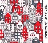 netherlands houses set hand... | Shutterstock .eps vector #355117103