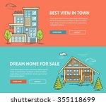 real estate market flat line... | Shutterstock .eps vector #355118699