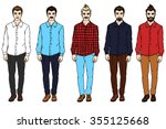 young man in shirt and jeans.... | Shutterstock .eps vector #355125668