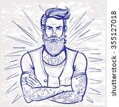 vector bearded man sketch... | Shutterstock .eps vector #355127018