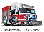 vector cartoon fire truck.... | Shutterstock .eps vector #355127099