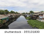 old house water thai waterfront ... | Shutterstock . vector #355131830