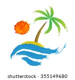 tropical palm on island with... | Shutterstock . vector #355149680