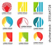 set of vector curtains logos.... | Shutterstock .eps vector #355164728