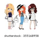 shopping girl vector t shirt... | Shutterstock .eps vector #355168958