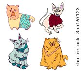 Different Breeds Of Cats. Hand...