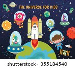 cute kids space vector... | Shutterstock .eps vector #355184540