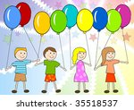 children with color balloon on... | Shutterstock .eps vector #35518537