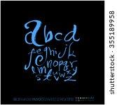 alphabet   number   hand drawn...   Shutterstock .eps vector #355189958