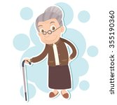 cartoon old woman stand with... | Shutterstock .eps vector #355190360