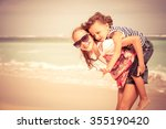 sister and brother playing on... | Shutterstock . vector #355190420