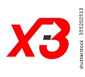x and 3 logo vector. | Shutterstock .eps vector #355202513