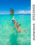 woman swimming with snorkel...   Shutterstock . vector #355210433