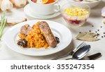 sauerkraut with sausage | Shutterstock . vector #355247354