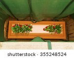 a wooden coffin covered with... | Shutterstock . vector #355248524