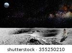 astronaut on lunar  moon ... | Shutterstock . vector #355250210