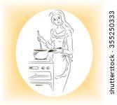 the woman cooks dinner | Shutterstock .eps vector #355250333