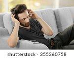handsome man emotionally...   Shutterstock . vector #355260758