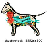 stylized skeleton bull terrier. ... | Shutterstock .eps vector #355266800