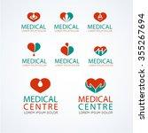 medical logo template set.... | Shutterstock .eps vector #355267694