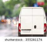 white delivery van driving fast ... | Shutterstock . vector #355281176