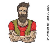 vector color tattoo bearded man ... | Shutterstock .eps vector #355301003