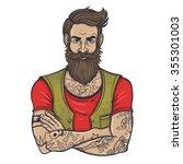 vector color tattoo bearded man ... | Shutterstock .eps vector #355301003