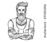 vector black and white tattoo... | Shutterstock .eps vector #355301006