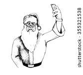 hand drawn santa make selfie.... | Shutterstock .eps vector #355321538