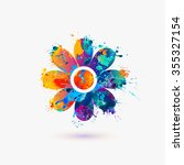 flower icon. rainbow splash | Shutterstock .eps vector #355327154