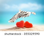 Two Hearts Under Umbrella On...