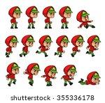 red jacket green cap boy game... | Shutterstock .eps vector #355336178